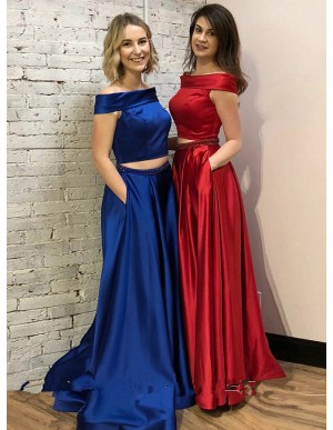 Two Piece Bateau Royal Blue Prom Dress with Beading Pockets