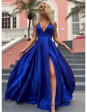 A-Line Halter Backless Sweep Train Satin Royal Blue Prom Dress with Split