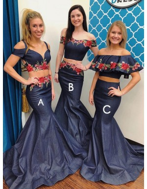 Two Piece Spaghetti Straps Cold Shoulder Denim Prom Dress with Appliques