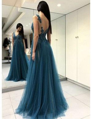 A-Line Beatue Open Back Turquoise Long Prom Dress with Appliques Beading Evening Dress