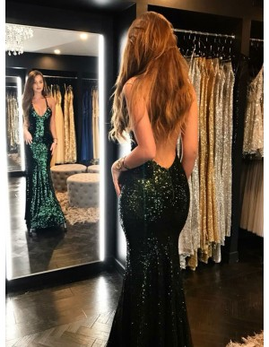 Mermaid Spaghetti Straps Backless Green Sequined Prom Dress