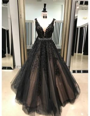 A-Line V-Neck Floor-Length Black Prom Dress with Appliques