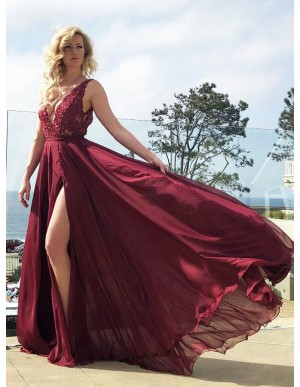 A-Line Deep V-Neck Long Open Back Burgundy Prom Dress with Lace Split