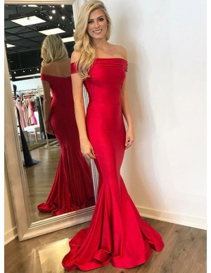 Mermaid Off-the-Shoulder Long Red Elastic Satin Prom Dress