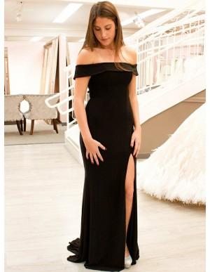 Mermaid Off-the-Shoulder Black Long Prom Dress with Split