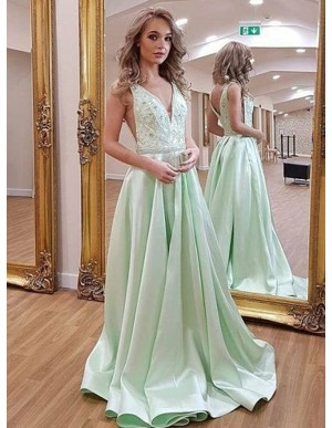 A-Line V-Neck Sweep Train Green Prom Dress with Pockets