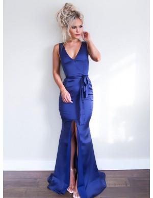 Mermaid V-Neck Sleeveless Royal Blue Long Prom Dress with Split