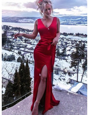 Sheath V-Neck Sleeveless Red Satin Evening Prom Dress with Split