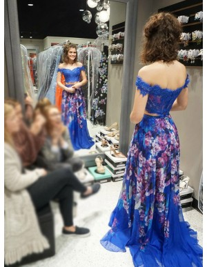 Two Piece Off-the-Shoulder Long Floral Chiffon Prom Dress with Appliques