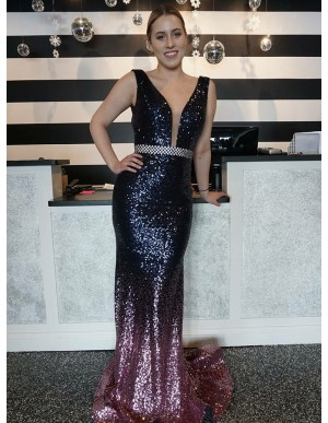 Mermaid V-Neck Sweep Train Ombre Sequined Prom Dress
