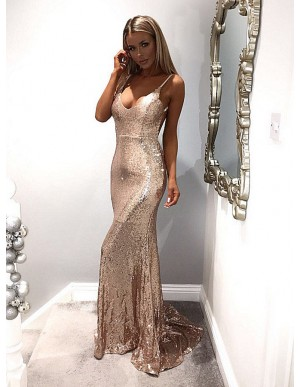 Mermaid Spaghetti Straps Champagne Prom Dress Backless Sequin Evening Dress