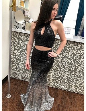 Two Piece Halter Long Ombre Sequin Prom Dress with Keyhole