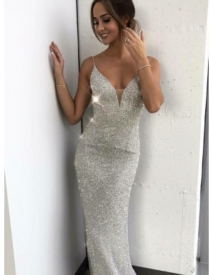Mermaid Spaghetti Straps Long Silver Sequined Formal Dress
