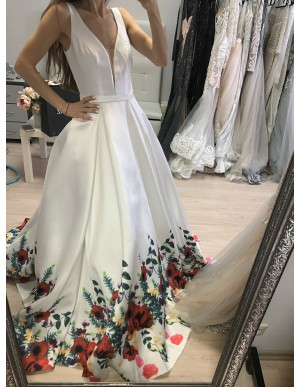 A-Line Deep V-Neck Backless Long White Floral Satin Prom Dress