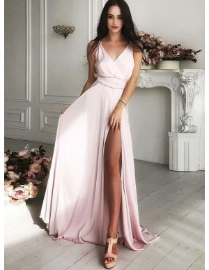 A-Line V-Neck Satin Pearl Pink Prom Dress with Split Long Party Dress