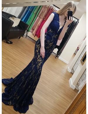 Mermaid Deep V-Neck Floor-Length Blue Lace Formal Dress