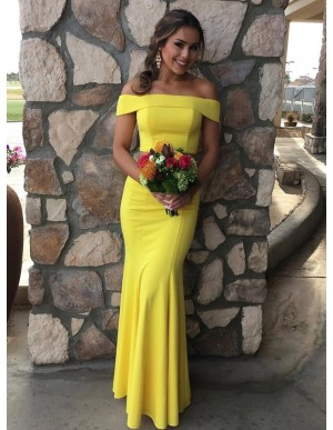 Two Piece Off-the-Shoulder Floor-Length Yellow Prom Party Dress