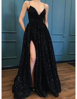 A-Line Spaghetti Straps Black Sequined Evening Prom Dress with Pockets Split