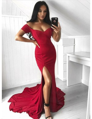 Mermaid Off-the-Shoulder Red Elastic Satin Prom Evening Dress with Split