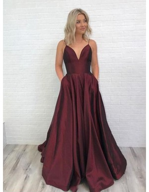 A-Line Spaghetti Straps Backless Long Burgundy Prom Dress with Pockets