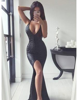 Mermaid Long Black Evening Dress Sequin Prom Dress with Split