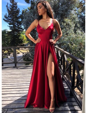 Modest V-neck Sleeveless Split Front Cross Back Dark Red Prom Dress