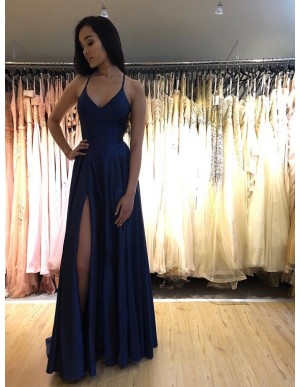 Simple Long Spaghetti Straps Sleeveless Royal Blue Prom Dress with Split