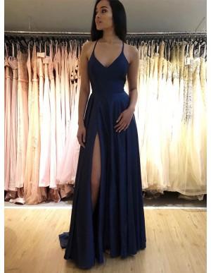 Simple Long Spaghetti Straps Sleeveless Navy Blue Prom Dress with Split