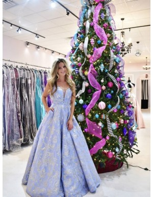 Top V-Neck Lavender Long Prom Dress with Appliques Beading Evening Dress