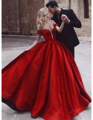 Sparkly Off-the-Shoulder Ball Gown Prom Dres with Sleeeves Red Evening Dress