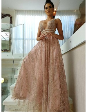 Fashion V-Neck Long Pearl Pink Prom Dress with Sequin Beading Evening Dress