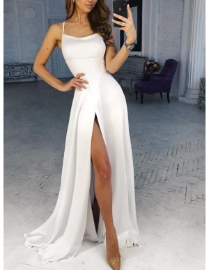 Simple White Prom Dress with Split Spaghetti Straps A-Line Long Porm Gown