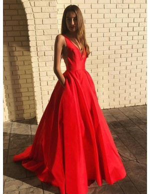 A-Line Red Prom Dress with Pockets V-Neck Sleeveless Long Party Dress
