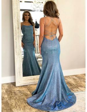 Spaghetti Straps Long Mermaid Prom Dress Sleeveless Blue Evening Dress