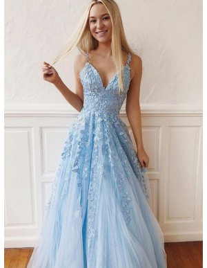 Spaghetti Straps Light Blue Prom Dress with Appliques Sleeveless Long Prom Gown