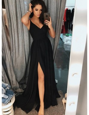Simple Long A-Line Spaghetti Straps Black Prom Dress with Split