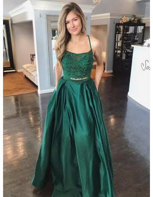 Two Piece Spaghetti Straps Dark Green Prom Dress with Lace Beading