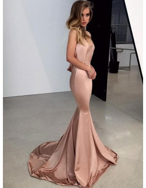 Spaghetti Straps Long Mermaid Prom Dress Backless Champagne Evening Dress