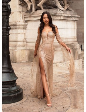 Off-the-Shoulder Long Sleeves Evening Dress Champagne Prom Dress With Split