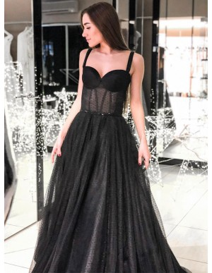 Modest A-Line Straps Long Prom Dress Sleeveless Black Evening Dress