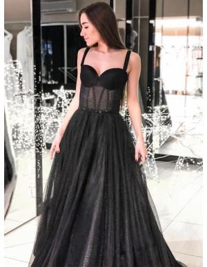 Modest A-Line Straps Long Prom Dress Sleeveless Black Evening Dress
