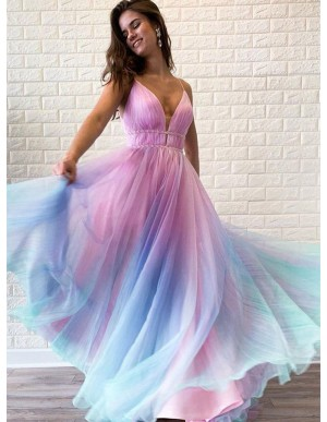 Modest A-Line Spaghetti Straps Ombre Long Prom Dress