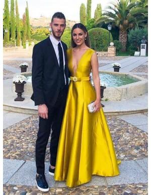 Deep V-Neck Long Prom Dress Satin Yellow Formal Dress with Belt