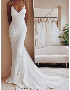 Simple Spaghetti Straps Backless Mermaid Bride Wedding Dress