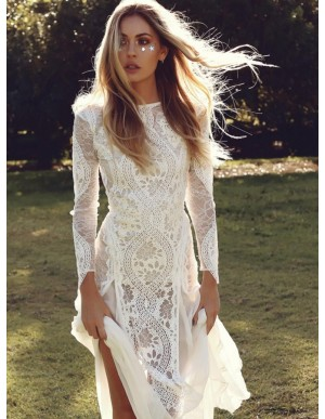Sheath Long Sleeves Backless Wedding Dress with Lace