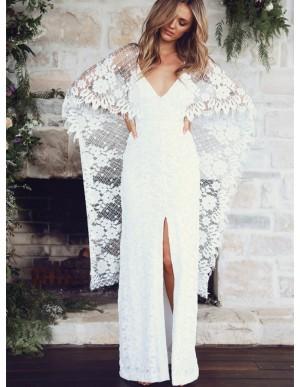 Sheath Spaghetti Strap Backless Lace Wedding Dress with Split Wraps