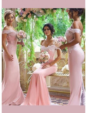 Elegant Pink Mermaid Off the Shoulder Court Train with Lace Bridesmaid Dress