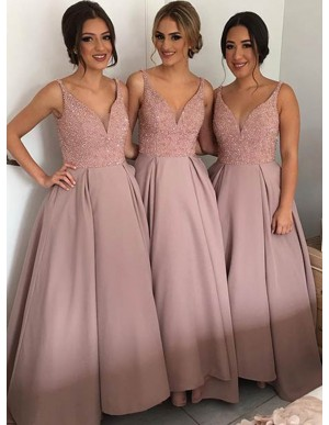 Glamorous Blush V-Neck Sleeveless Floor-Length Sequins Bridesmaid Dress