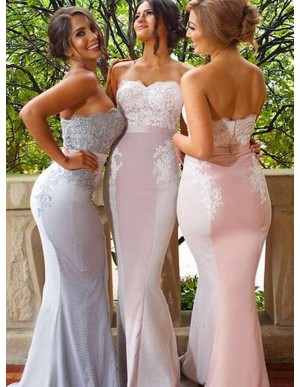 Decent Pink Mermaid Sweetheart Sweep Train Appliques Beading Bridesmaid Dress