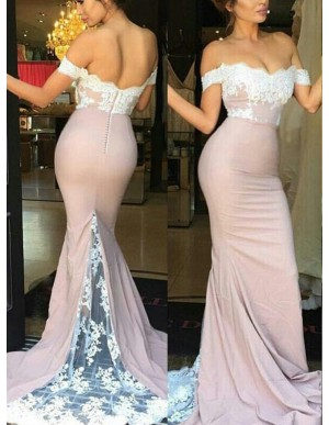 Elegant Blush Mermaid Off the Shoulder Sweep Train Lace Top Bridesmaid Dress